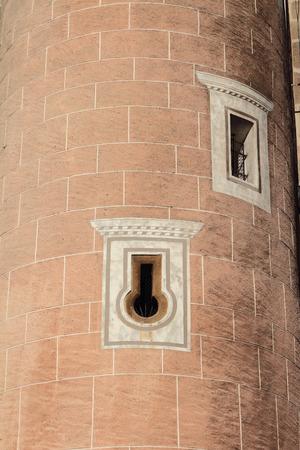 ceske: Loophole on medieval tower. Ceske Budejovice, Czech Republic