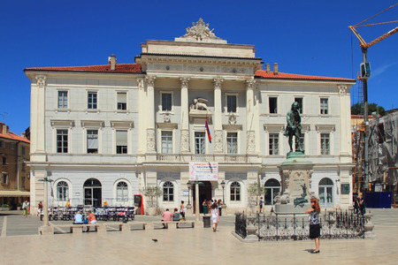 theorist: Tartini Square, town hall and monument to violinist. Piran, Slovenia