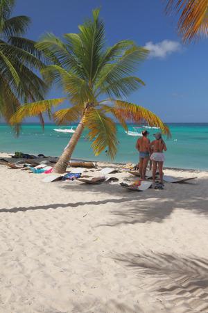 romana: Beach at Caribbean sea. Isla Saona, La Romana, Dominicana