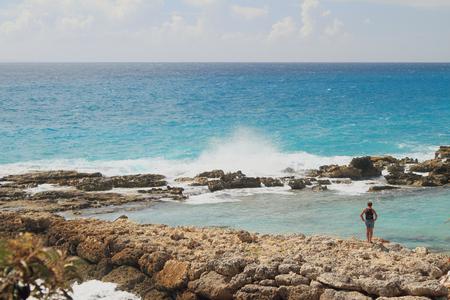 guadeloupe: On stony ocean coast. Guadeloupe