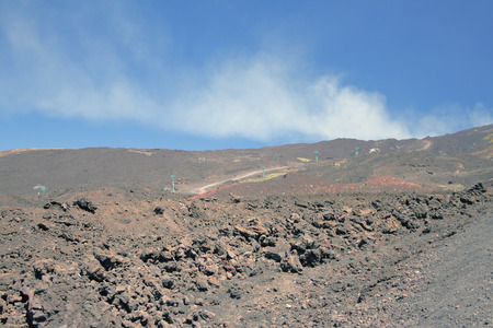 etna: Ropeway on volcanic slope. Etna Sicily Italy