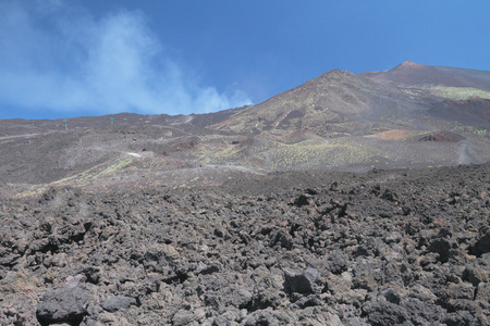 volcano slope: Slope of active volcano. Etna Sicily Italy