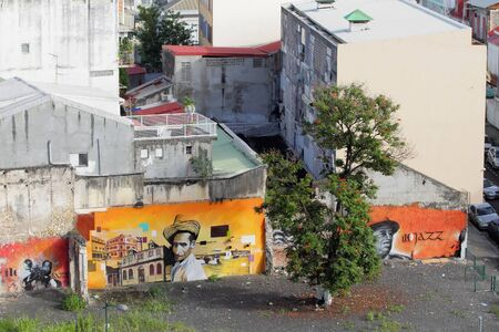 guadeloupe: Houses from graffiti on wall. PointeaPitre Guadeloupe Editorial