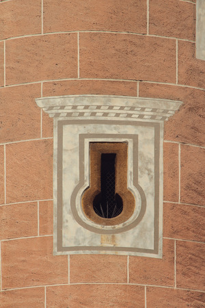 budejovice: Loophole in wall of ancient tower. Ceske Budejovice, Czech Republic