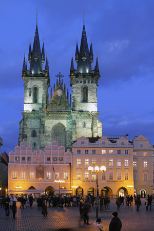 tynsky church: Old Town Square and Church of Our Lady before Tyn. Prague Czech Republic Editorial