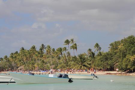 motor boats: Motor boats and tropical coast. Bayahibe Dominican Republic
