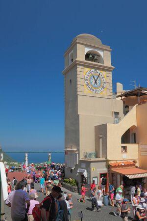 central square: Torre con ore in piazza centrale. Capri Italiy Editoriali