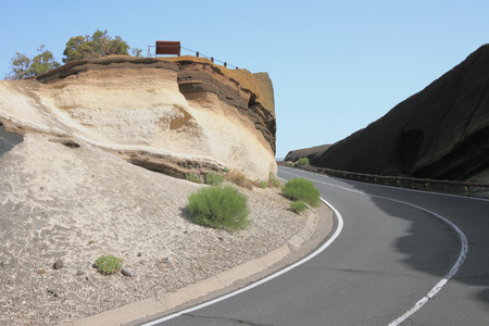 volcanic: Road through volcanic tuff. Teide, Tenerife, Spain