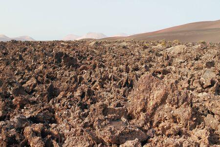 timanfaya: Stiffened lava in Timanfaya park. Lanzarote, Spain Stock Photo