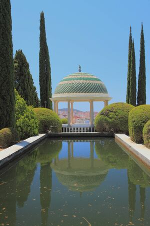 arbor: Arbor and pond, botanical garden La-Concepcin. Malaga, Spain