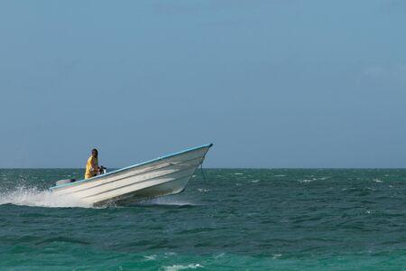 motor boat: Motor boat in high sea