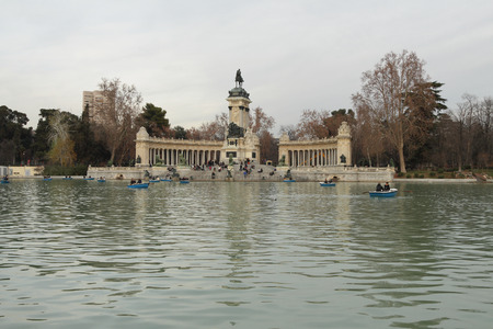 In January evening in Retiro park. Madrid, Spain