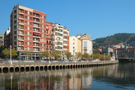 embankment: Nervion River Embankment. Bilbao, Spain