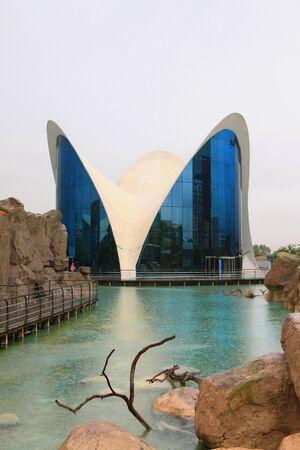 oceanographic: Oceanographic park under pouring rain. Valencia, Spain
