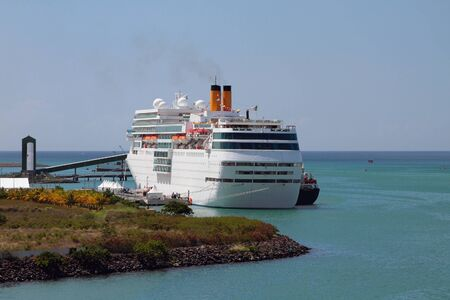 cruise liner: Cruise liner on parking to Port Louis, Mauritius Stock Photo