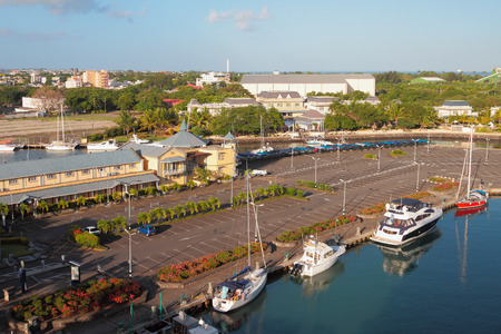 louis: Parking and yacht-club. Port Louis, Mauritius Stock Photo