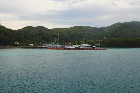 praslin: Cruise port. Praslin, Seychelles Stock Photo