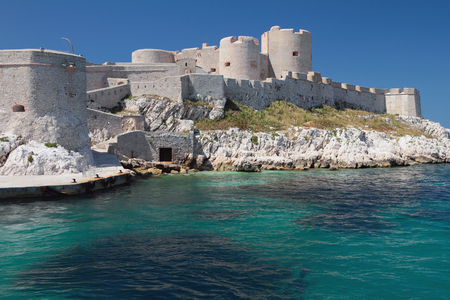 mediterranean coast: Ancient fortress on coast. Château dIf, Marseille, France Editorial