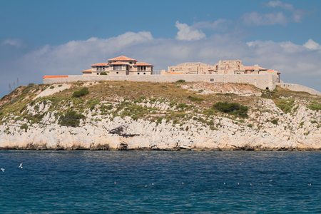 country house style: Construction of housing on sea coast. Marseille, France Stock Photo