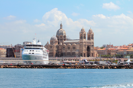 Cruise liner and Cathedral of Mother of God. Marseille, France Stok Fotoğraf