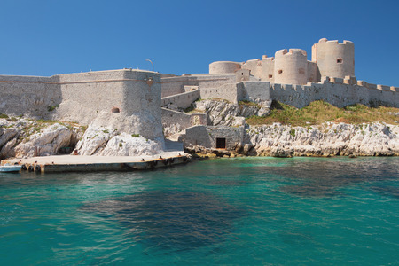 mooring: Mooring and fortress. Chateau If, Marseille, France Stock Photo
