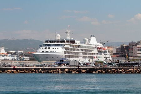 liner: Cruise liner in port. Marseille, France