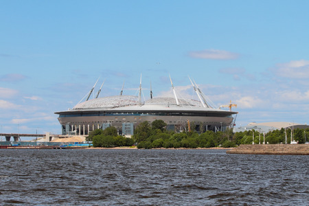 and st petersburg: Construction of stadium on river coast. St. Petersburg, Russia Editorial
