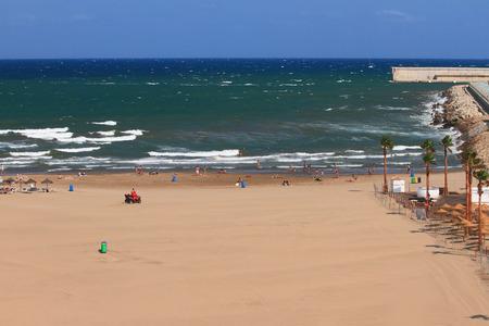 a bathing place: Sandy beach on sea coast. Valencia, Spain Stock Photo