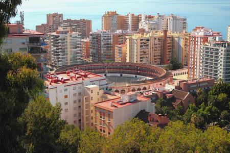 corrida de toros: Ciudad y arena para la corrida de toros. Málaga, España Foto de archivo