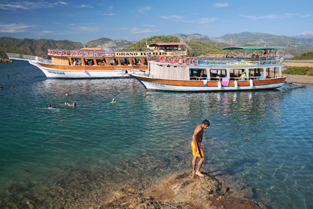hovercraft: Bathing in open water during sea yacht trip. Fethiye, Turkey