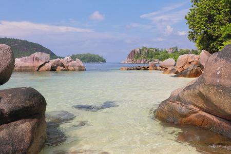 GLOD: View on gulf Anse Islette. Port Glod, Mahe, Seychelles