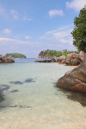 GLOD: Boulders and rocks in gulf Anse Islette, Port Glod, Mahe, Seychelles Stock Photo