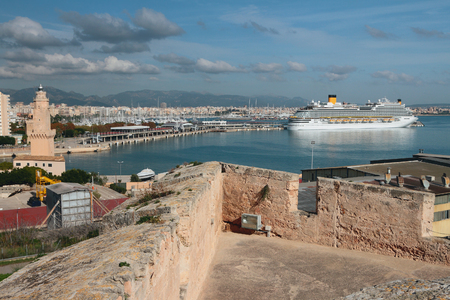 View from fortress on seaport. Palma-de-Majorca, Spain