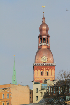 Tower of cathedral. Riga, Latvia Stock Photo