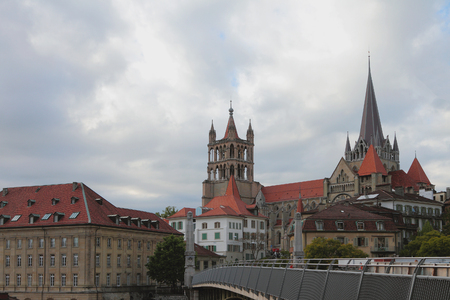Gothic cathedral in city Lausanne, Switzerland
