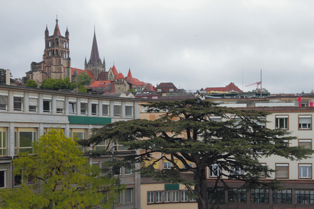 City and cathedral. Lausanne, Switzerland
