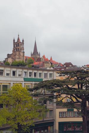 City on hills. Lausanne, Switzerland Stock Photo