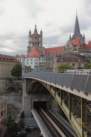 Double-level bridge and city. Lausanne, Switzerland Stock Photo