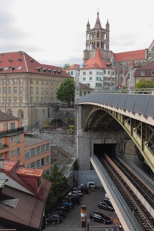 City and two-story bridge. Lausanne, Switzerland Stock Photo