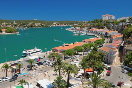 Gulf, embankment and city. Maon, Minorca, Spain