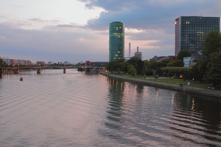 Evening river and city. Frankfurt am Main, Germany