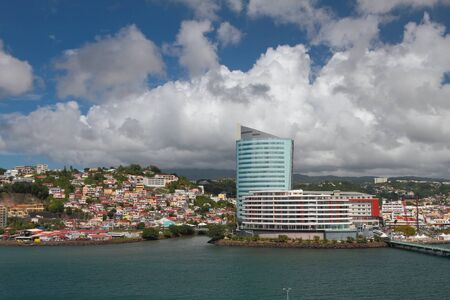City on sea coast and clouds. Fort-de-France, Martinique