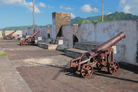 In fort of ancient fortress. Kingstown, Saint-Visent