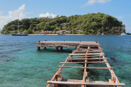 Half-ruined pier and Young Island. Kingstown, Saint-Vicent