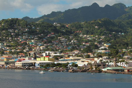 City on coast of tropical island. Kingstown, Saint Vincent