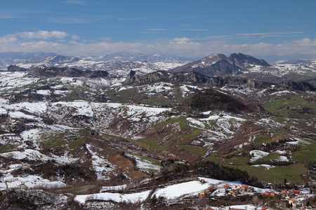 Apennines in March. San Marino and Italy