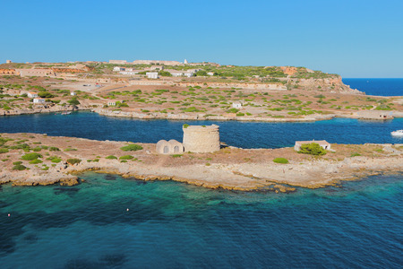 Island and ancient defensive works. Mahon, Minorca, Spain