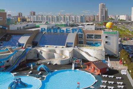 Kazan, Russia - May 26, 2018: Riviera aquapark and city