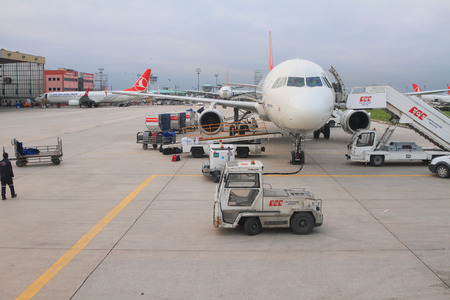 Service of plane at airport. Istanbul, Turkey