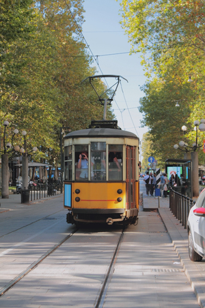 Tram and stop. Milan, Italy